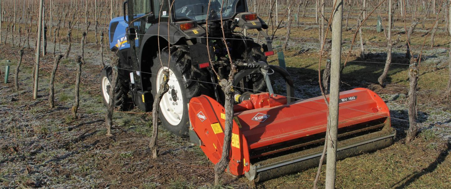 BV 160 vineyard and orchard shredder at work