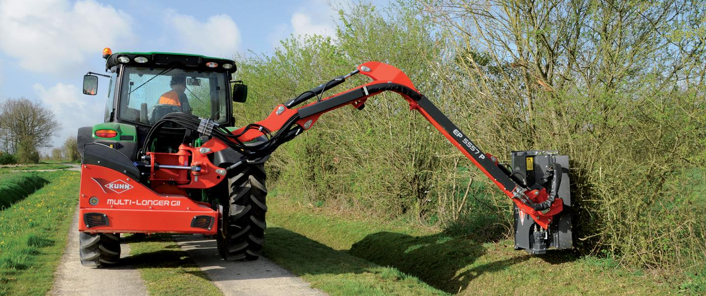 KUHN MULTI-LONGER GII 5557 P Hedge and Grass Cutter: straight arm with extra reach!