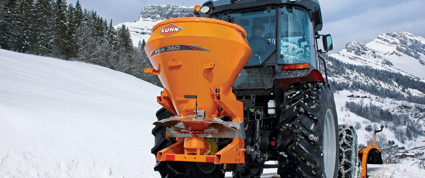 VSA mounted salt and sand spreader at work